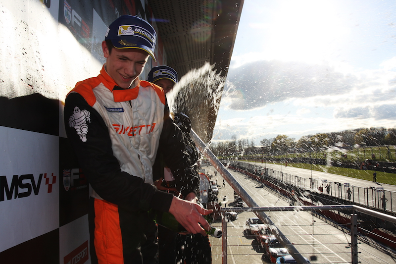 Matt Chapman Brands Hatch Podium Spraying champaign April 2016