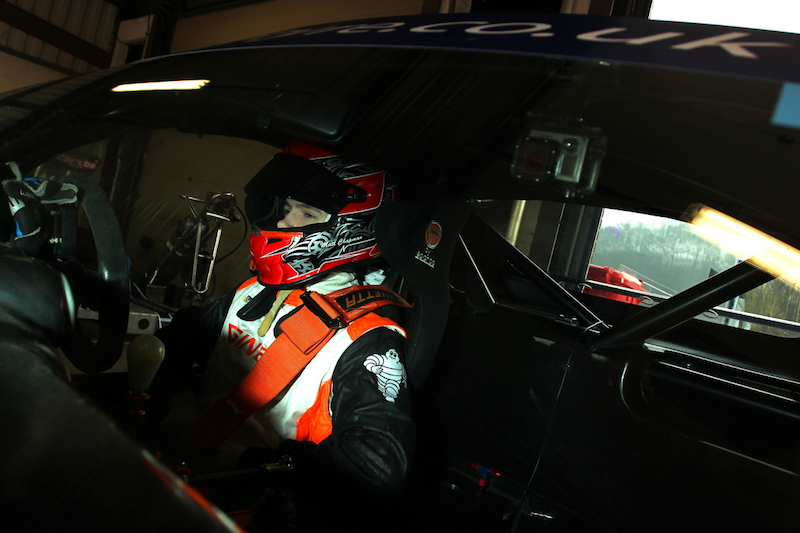 Matt Chapman sitting in his car ready to race the Ginetta GT5 Challenge