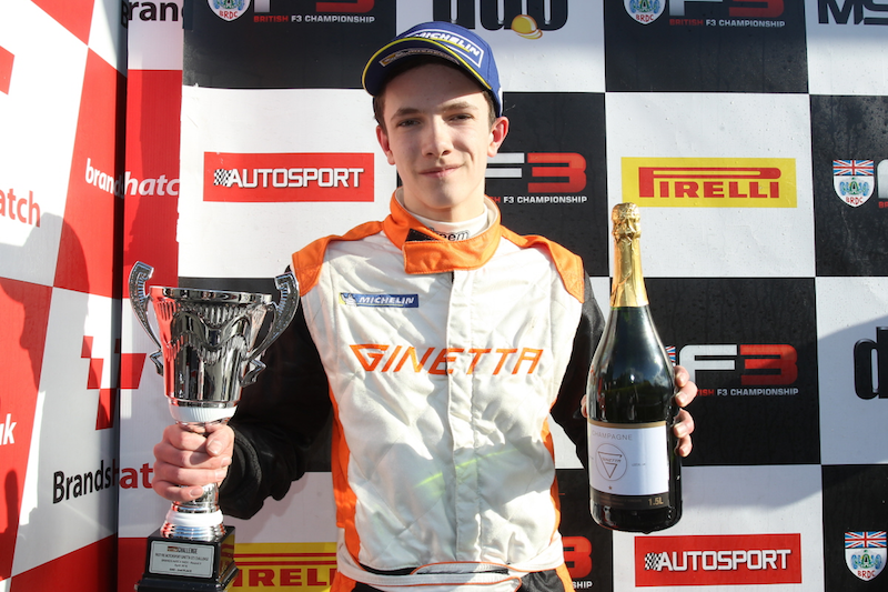 Matt Chapman Ginetta GT5 Podium with Cup and Champaign Brands Hatch 2016