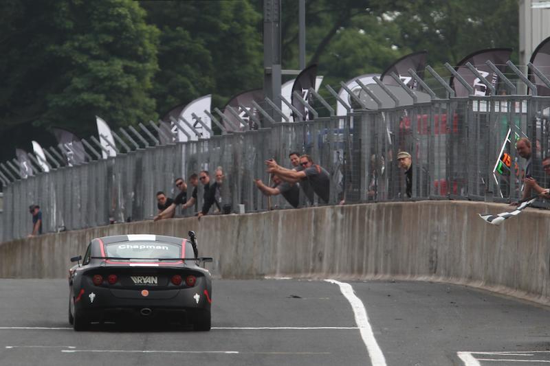 Matt Chapman taking checkered flag GT5 Oulton Park